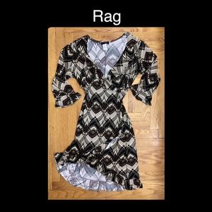 Rag Large Black, White & Brown Dress